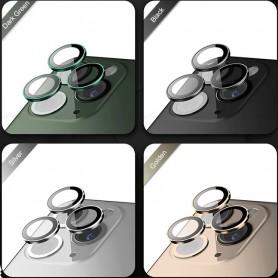 Vidro de câmera completo com moldura iPhone 11 Pro 11 Pro Max 3 unidades pretas