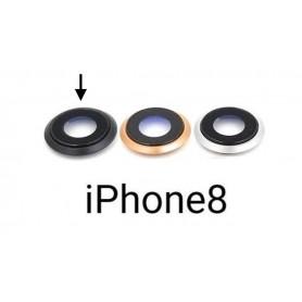 Vidro completo para câmera com moldura iPhone 8 preto