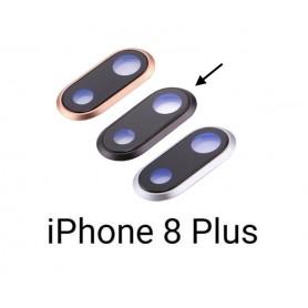 Vidro de câmera completo com moldura iPhone 8 Plus preto