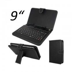 Capa e teclado USB para tablet de 9 polegadas